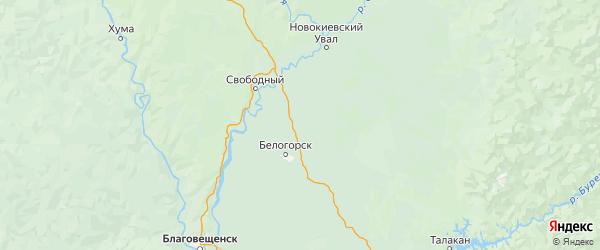 Карта Серышевского района Амурской области с населенными пунктами и городами