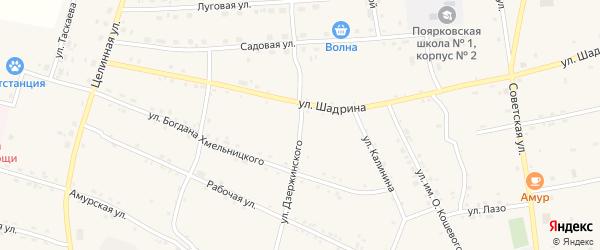 Улица Дзержинского на карте села Поярково с номерами домов