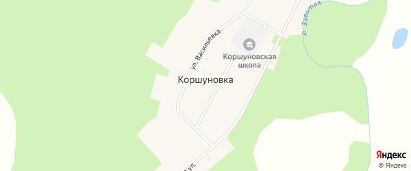 Центральная улица на карте села Коршуновки с номерами домов