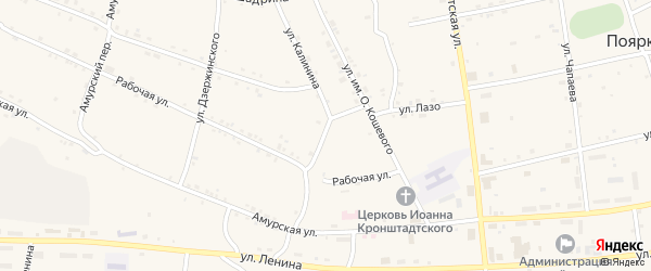 Улица Калинина на карте села Поярково с номерами домов