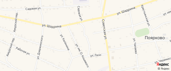 Улица Некрасова на карте села Поярково с номерами домов