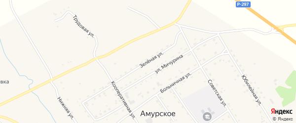 Зеленая улица на карте Амурского села с номерами домов