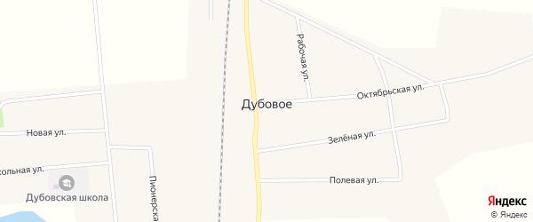 Железнодорожная улица на карте Дубового села с номерами домов