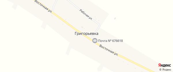 Восточная улица на карте села Григорьевки с номерами домов