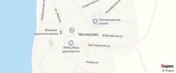 Центральная улица на карте села Чесноково с номерами домов
