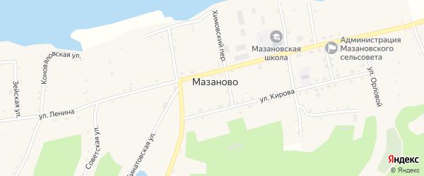 Школьный переулок на карте села Мазаново с номерами домов