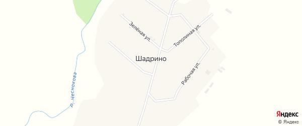 Зелёная улица на карте села Шадрино с номерами домов