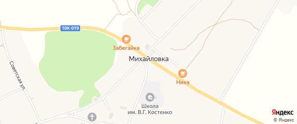 Переулок Ветеранов на карте села Михайловки с номерами домов