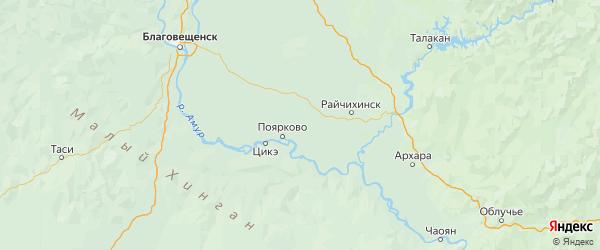 Карта Михайловского района Амурской области с городами и населенными пунктами