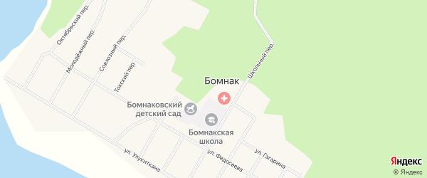 Зеленый переулок на карте села Бомнака с номерами домов