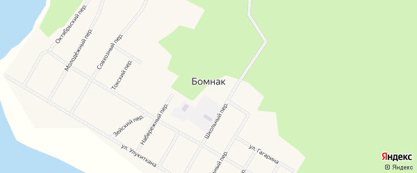 Амурский переулок на карте села Бомнака с номерами домов