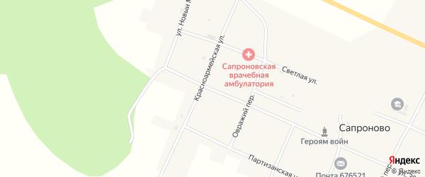 Красноармейская улица на карте села Сапроново с номерами домов