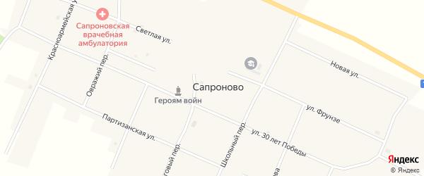 Овражий переулок на карте села Сапроново с номерами домов