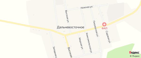 Комсомольская улица на карте Дальневосточного села с номерами домов