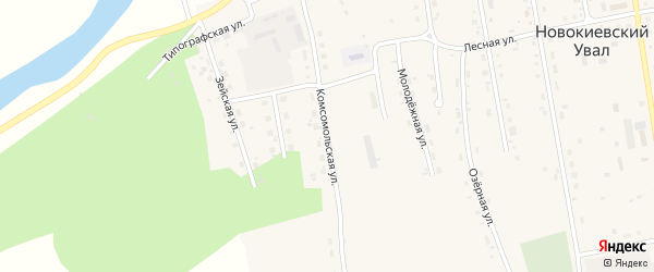 Комсомольская улица на карте села Новокиевского Увала с номерами домов