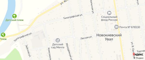 Озерная улица на карте села Новокиевского Увала с номерами домов