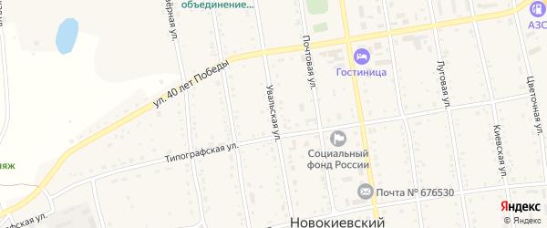 Увальская улица на карте села Новокиевского Увала с номерами домов
