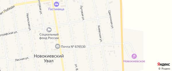 Луговая улица на карте села Новокиевского Увала с номерами домов