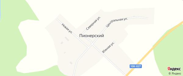 Придорожная улица на карте Пионерского поселка с номерами домов