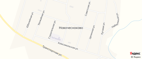 Целинная улица на карте села Новочесноково с номерами домов