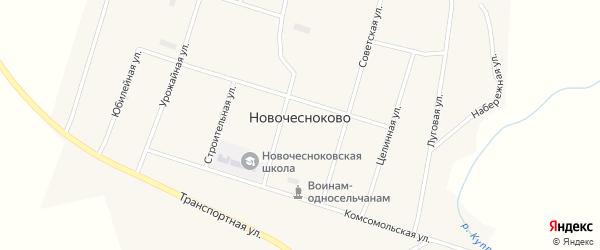 Зеленая улица на карте села Новочесноково с номерами домов