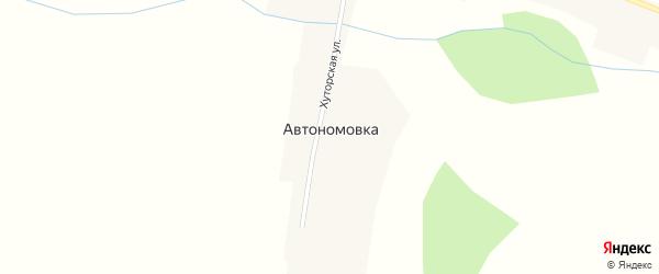 Школьный переулок на карте села Автономовки с номерами домов