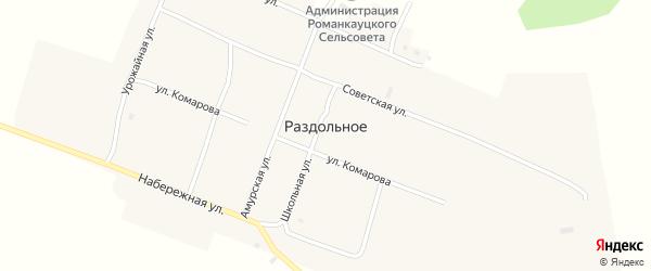 Улица Комарова на карте Раздольного села с номерами домов