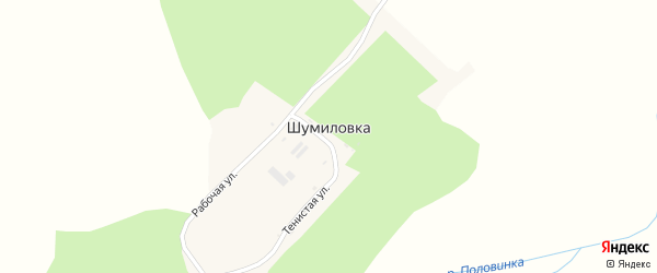 Рабочая улица на карте села Шумиловки с номерами домов