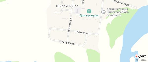Южная улица на карте села Широкого Лога с номерами домов