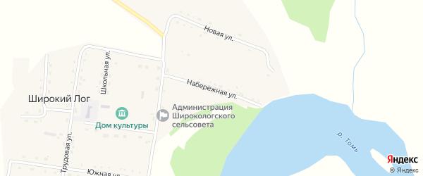 Набережная улица на карте села Широкого Лога с номерами домов
