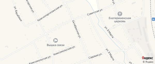 Октябрьская улица на карте села Екатеринославки с номерами домов