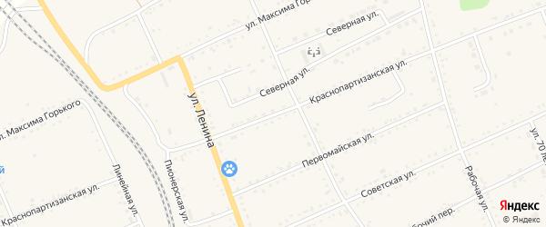 Краснопартизанская улица на карте села Екатеринославки с номерами домов