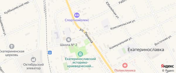 Комсомольская улица на карте села Екатеринославки с номерами домов