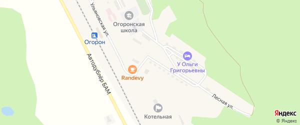 Улица Первостроителей на карте поселка Огорона с номерами домов
