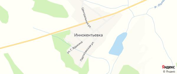 Карта села Иннокентьевки в Амурской области с улицами и номерами домов