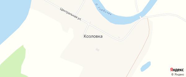 Центральная улица на карте села Козловки с номерами домов