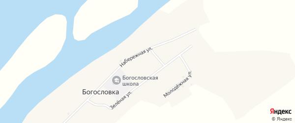 Набережная улица на карте села Богословки с номерами домов