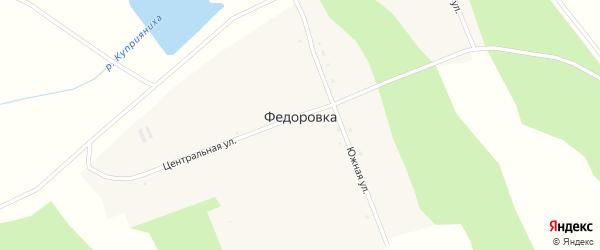 Центральная улица на карте села Федоровки с номерами домов