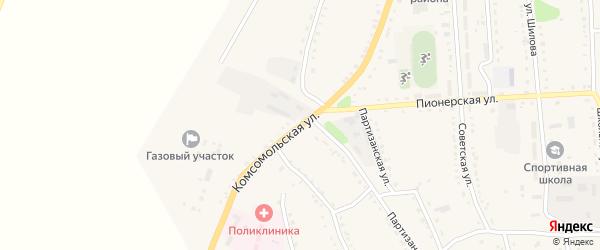 Комсомольская улица на карте села Ромен с номерами домов