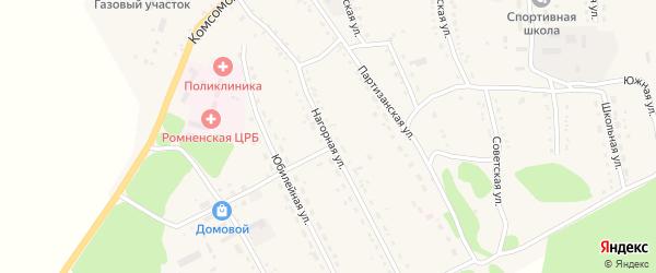Нагорная улица на карте села Ромен с номерами домов
