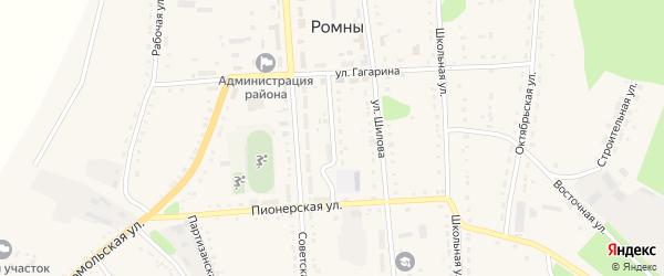 Ромненская улица на карте села Ромен с номерами домов