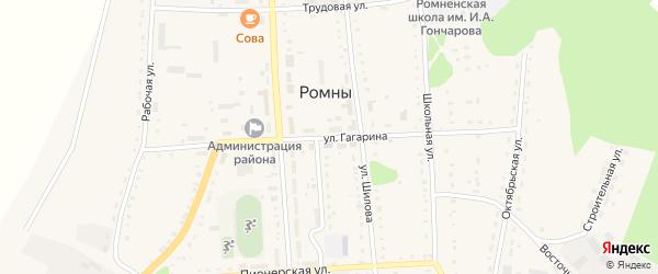 Улица Гагарина на карте села Ромен с номерами домов