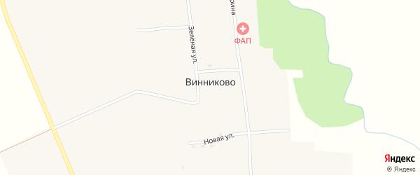 Зеленая улица на карте села Винниково с номерами домов