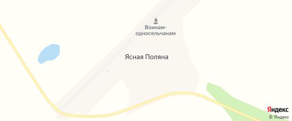 Зеленая улица на карте села Ясной Поляны с номерами домов