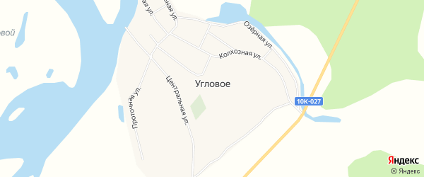 Карта Углового села в Амурской области с улицами и номерами домов