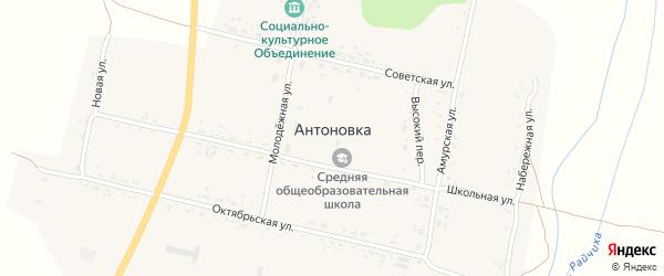 Октябрьская улица на карте села Антоновки с номерами домов