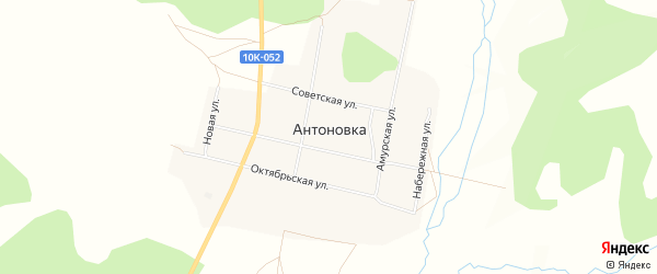 Карта села Антоновки в Амурской области с улицами и номерами домов