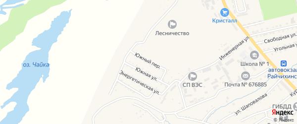 Южный переулок на карте Райчихинска с номерами домов