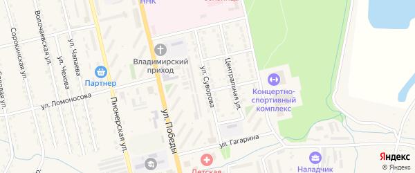 Улица Суворова на карте Райчихинска с номерами домов
