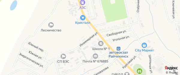 Инженерная улица на карте Райчихинска с номерами домов